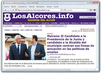 Javier Arenas junto a Ricardo Sánchez en Alcores.info