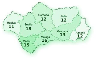 Reparto por provincias de los 109 escaños del parlamento andaluz