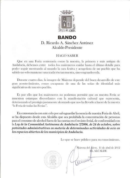 Bando del Alcalde de Mairena del Alcor. 11/04/2012