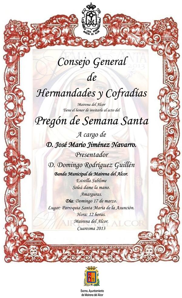 Mairena del Alcor. Pregón de Semana Santa de 2013