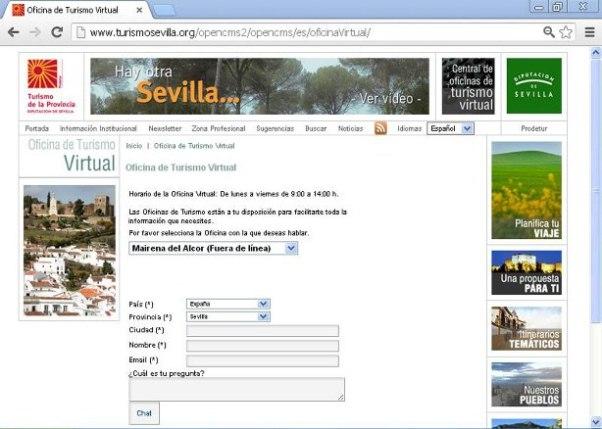 Imagen de la web de la Oficina de Turismo Virtual de Mairena del Alcor