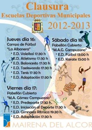 Cartel de la clausura de las Escuelas Deportivas Municipales 2012-13