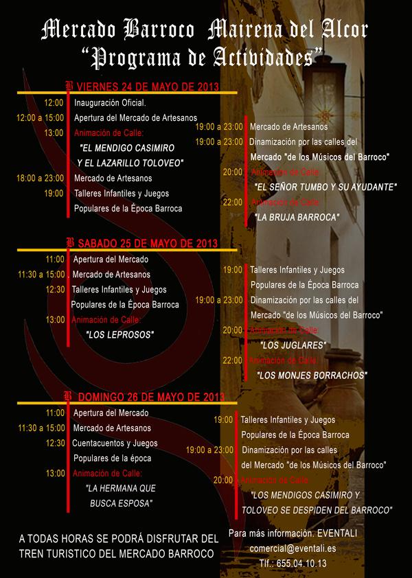 Actividades Mercado Barroco del 24 al 26 de mayo en el Paseo de Mairena del Alcor