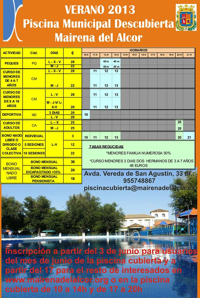 Actividades de la piscina de mairena del alcor para el for Piscina mairena del alcor 2017