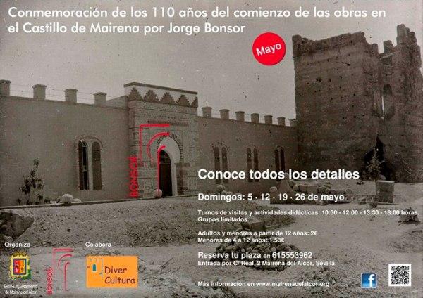 Cartel de las visitas al Castillo de Mairena del Alcor