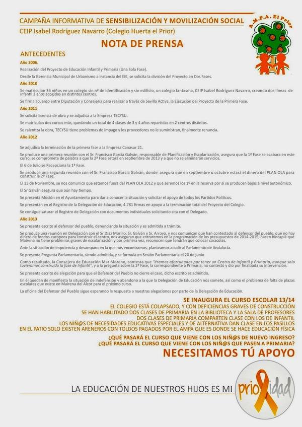 Nota Prensa AMPA Colegio Prior_600