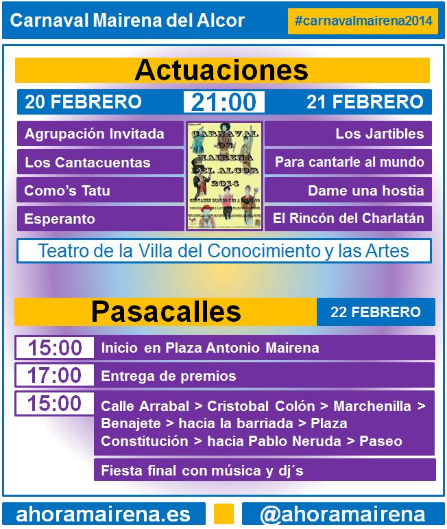 agenda y horarios carnaval de mairena 2014