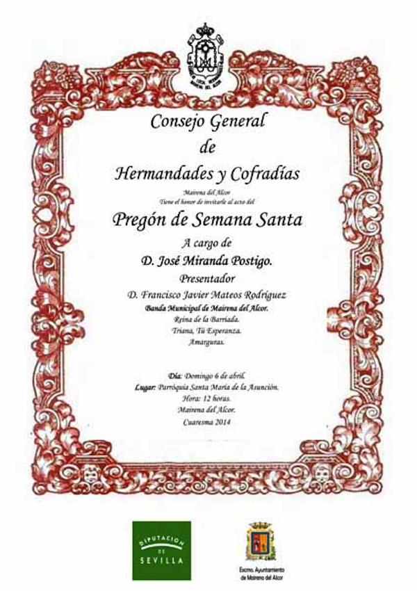 Cartel Pregon Semana Santa 2014_600