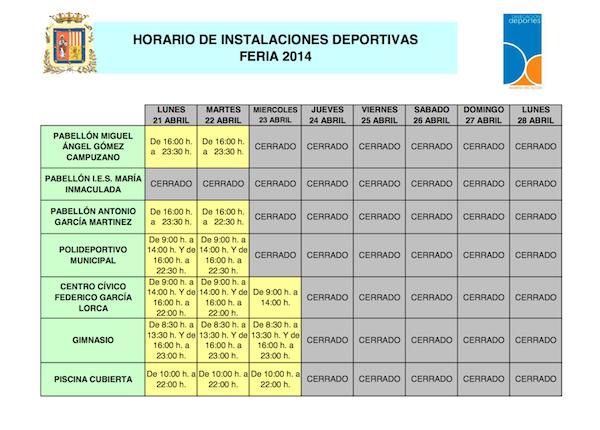 Horario instalaciones deportivas Feria_600