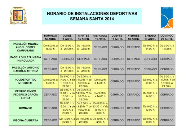 Horario instalaciones deportivas Semana Santa_600