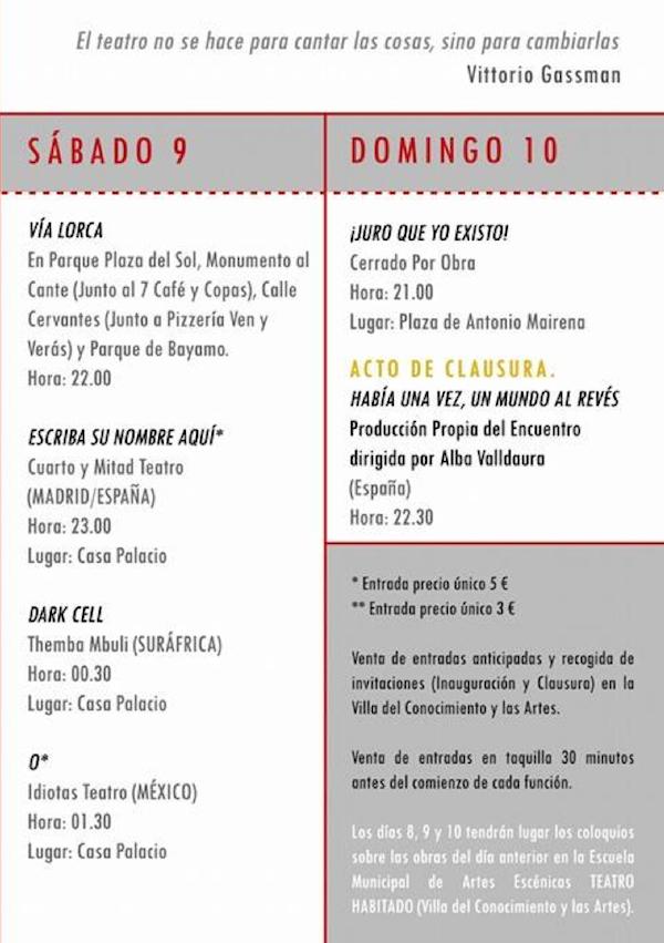Programa 2 Festival Teatro Joven 2014