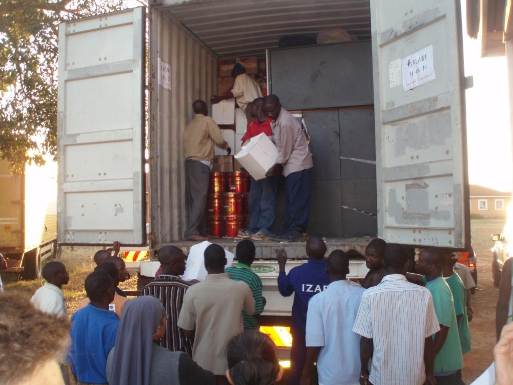 El contenedor a su llegada a Malawi.