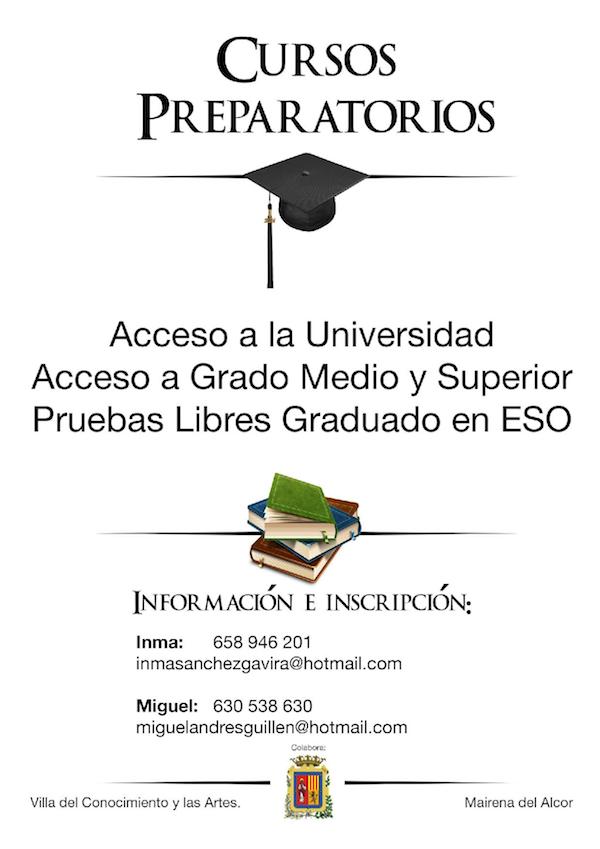 Cursos Preparatorios de acceso a la Universidad, a Grado Medio y Superior y graduado en ESO