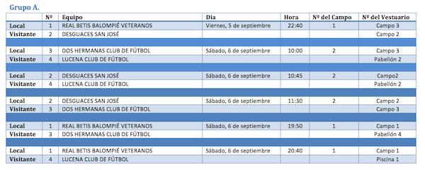 Horarios Grupo A_Fútbol 7 veteranos