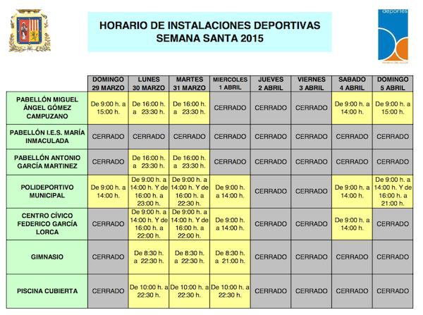 Horarios Instalaciones deportivas Semana Santa 2015