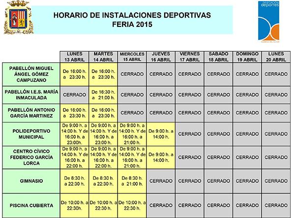 horario instalaciones SEMANA SANTA Y FERIA 2015
