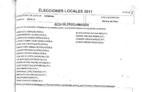 Acta de Proclamación. Detalle de los datos referidos a los concejales elegidos.