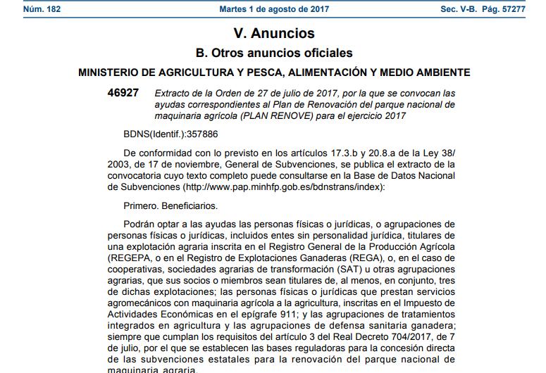 PUBLICADO PLAN RENOVE MAQUINARIA AGRÍCOLA